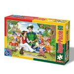Puzzle  Dtoys-60396-PV-02 XXL Teile - Schneewittchen und die  Zwerge