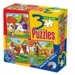 Dtoys-60457 Puzzle 6,9 und 16 Teile: Pferd, Hund und Kuh