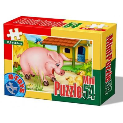 Dtoys-60464-AD-04 Mini Puzzle: Schwein
