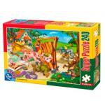 Puzzle  Dtoys-60488-PV-05 XXL Teile - Die 3 kleinen Schweinchen
