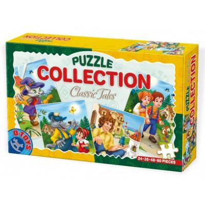 Dtoys-60501-CP-01 4 Märchen-Puzzles: Hänsel und Gretel, Rotkäppchen, Der gestiefelte Kater, Gulliver