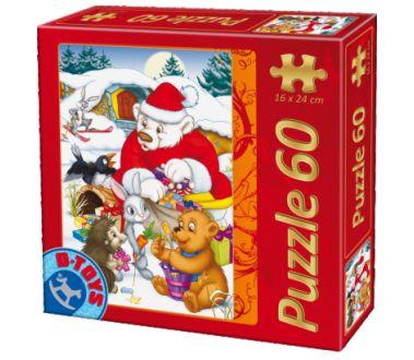 Puzzle Dtoys-60709-XM-03 Weihnachtsmann mit Tieren