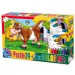 Puzzle  Dtoys-60730-PC-01 Kuh auf Wiese + 2 Bilder zum Buntmalen