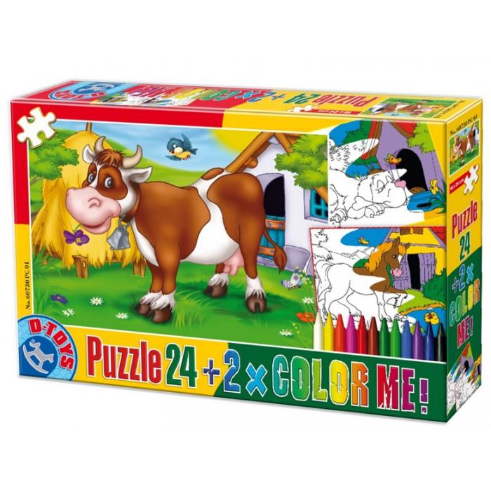 Kuh auf Wiese + 2 Bilder zum Buntmalen