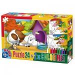 Puzzle  Dtoys-60730-PC-02 Hund vor Hütte + 2 Bilder zum Buntmalen
