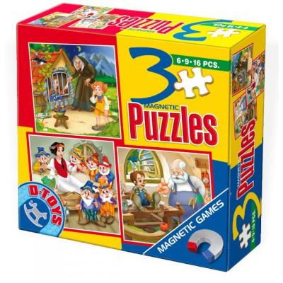 Dtoys-60778 Puzzle 6,9 und 16 Teile: Pinocchio, Hänsel und Gretel, Schneewittchen