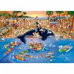 Puzzle  DToys-61218-CC06 Cartoon Collection: Stau am Strand