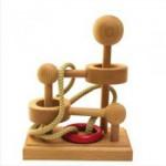 Dtoys-61485-06 Chinesisches Holzpuzzle - IQ Games - Basic 6 - Schwierigkeit 2/5