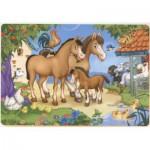 Puzzle  Dtoys-61492-AN-03 Pferde-Familie