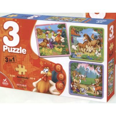 Puzzle Dtoys-63724-AN-01 Die Tiere des Bauernhofs und die Tiere aus dem Wald