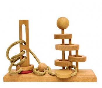 Dtoys-64387-11 Chinesisches Holzpuzzle - IQ Games - Expert 11 - Schwierigkeit 4/5