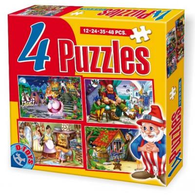 Puzzle Dtoys-64592-PV-01 Aschenputtel, Hänsel und Gretel, Der gestiefelte Kater