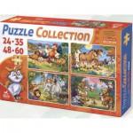 Puzzle  Dtoys-65223-PC-02 Die Tiere des Bauernhofs und die Tiere aus dem Dschungel