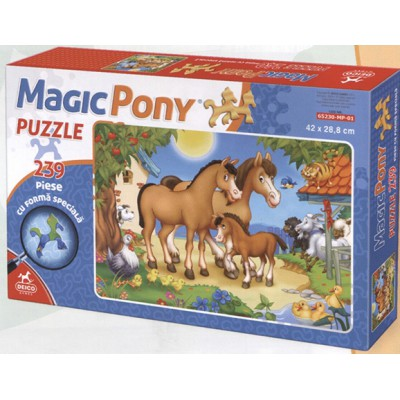 Dtoys-65230-MP-01 Pferdefamilie: Puzzleteile in Pferdeform