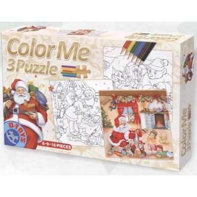 Dtoys-67593-XM-01 Weihnachtsgeschichten: 3 Weihnachtspuzzle + Bilder zum Buntmalen