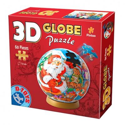 Dtoys-67609-GP-01 3D Globus Puzzle - Weihnachtsmann mit Schneemann