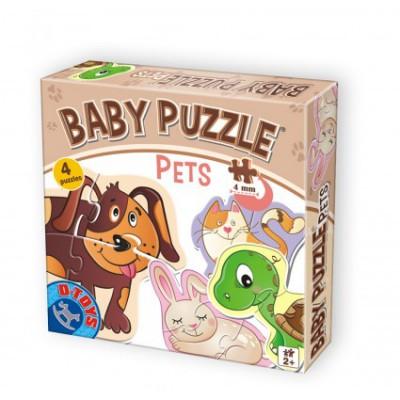 Dtoys-71255 4 Puzzles - Tierbabies