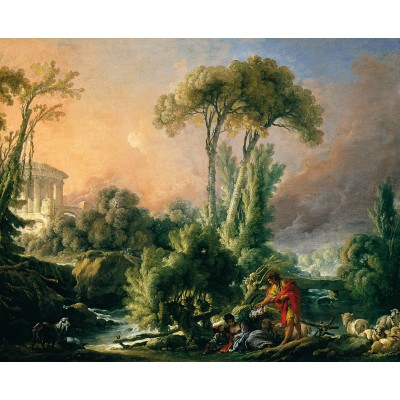 Puzzle Dtoys-72696-BO-02 François Boucher: River Landscape with an Antique Temple