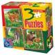 Puzzle 6,9 und 16 Teile: Wölfe, Rehe und Wildschweine