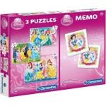 3 Puzzles + Memo - Disney Princess