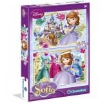 Clementoni-07116 2 Puzzles - Disney Sofia