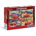 Clementoni-07602 4 Puzzles - Cars