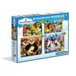 Clementoni-07710 4 Progressive Puzzles - Dreamworks