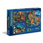 Clementoni-08001 3 Puzzles - 3D Effekt - Wildlife