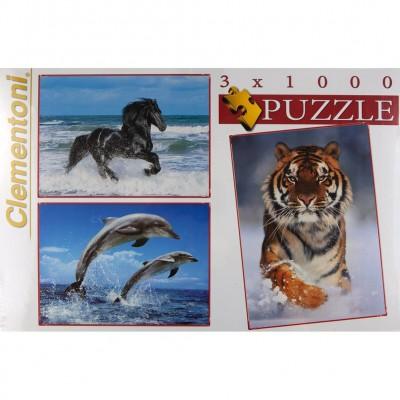 Clementoni-08004 3 Puzzles - Tiere