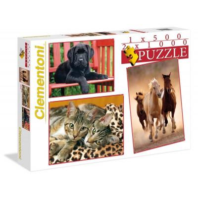 Clementoni-08103 Puzzle 500 Teile + 2 Puzzles 1000 Teile - Tiere