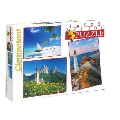 Clementoni-08104 3 Puzzles - Landschaften
