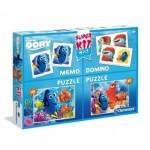 Clementoni-08213 2 Puzzles Dory + Memo + Domino