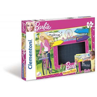 Clementoni-20230 Message-Puzzle Barbie mit Kreide