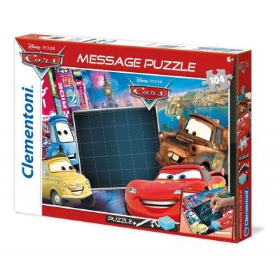 Clementoni-20233 Message Puzzle Cars