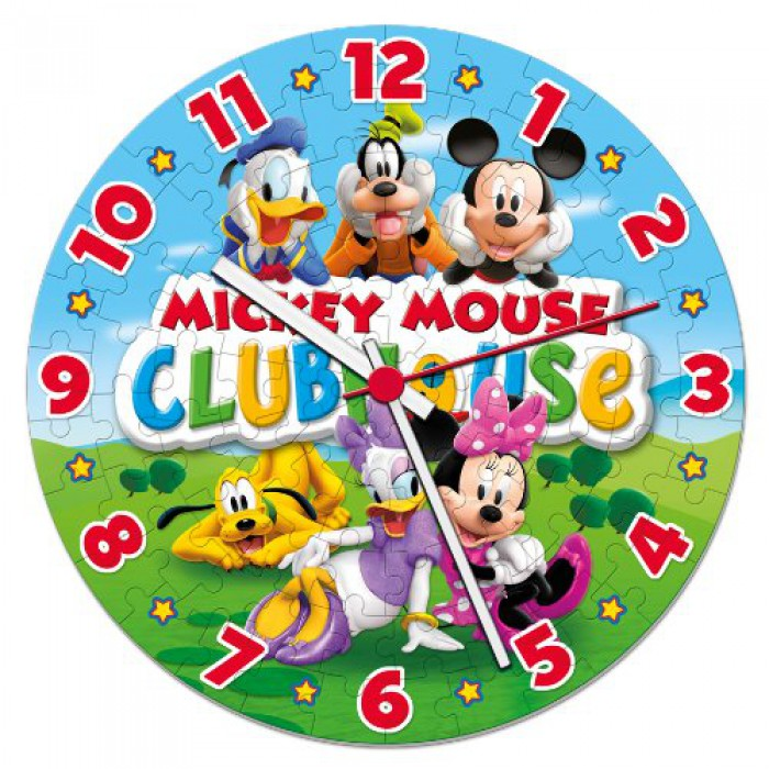 Mickey Mouse Club Haus - Puzzleuhr mit Mechanismus