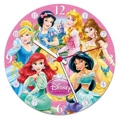Clementoni-23020 Puzzleuhr - Disney Princess