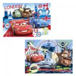 Clementoni-24699 Puzzle 2 x 20 Teile - Cars 2: Wettrennen um die Welt
