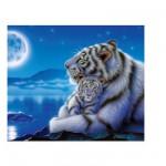 Puzzle  Clementoni-30279 Weiße Tigermutter mit Jungem im Mondlicht