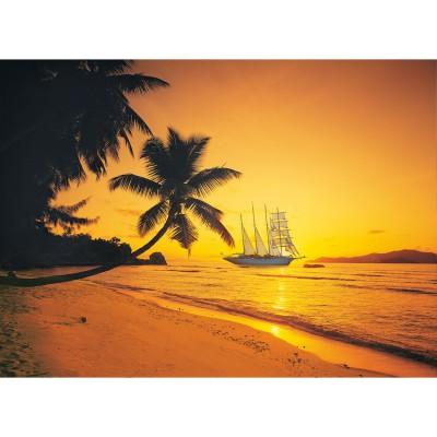 Puzzle Clementoni-39235 Sonnenuntergang auf den Seychellen