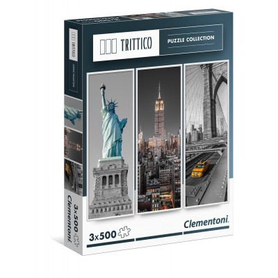 Clementoni-39305 3 Puzzles - New York