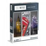 Clementoni-39306 3 Puzzles - London