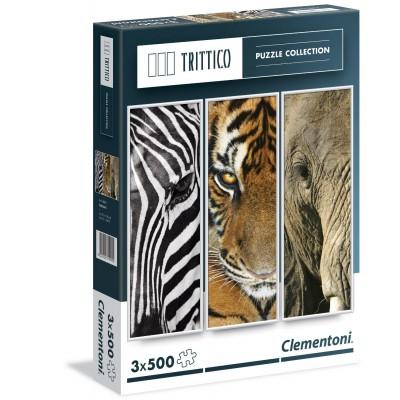 Clementoni-39307 3 Puzzles - Animals