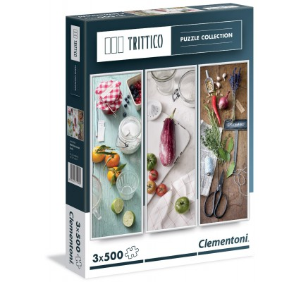 Clementoni-39308 3 Puzzles - Mediterrane Küche