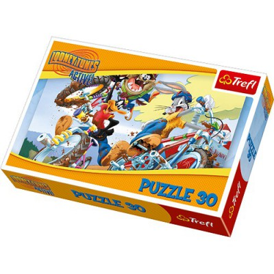 Puzzle Trefl-18169 Bugs Bunny und Daffy Duck - Mountainbike