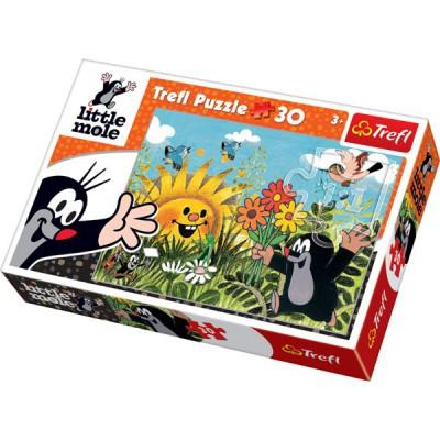 Puzzle Trefl-18180 Der kleine Maulwurf pflückt Blumen