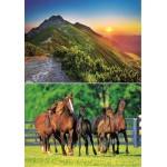 Trefl-29103 2 Puzzles - Berge und Pferde