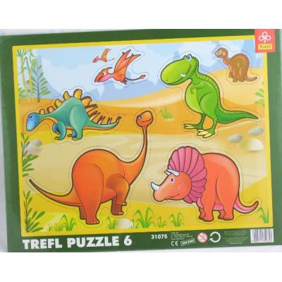 Trefl-31075 6 Teile Rahmenpuzzle - Dinosaurier