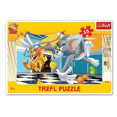 Trefl-31214 Rahmenpuzzle - Tom und Jerry
