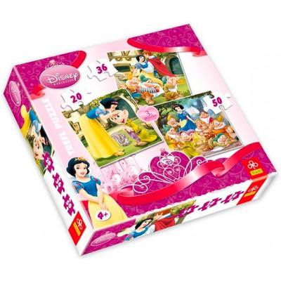 Trefl-34038 3 Puzzles Schneewittchen und die 7 Zwerge