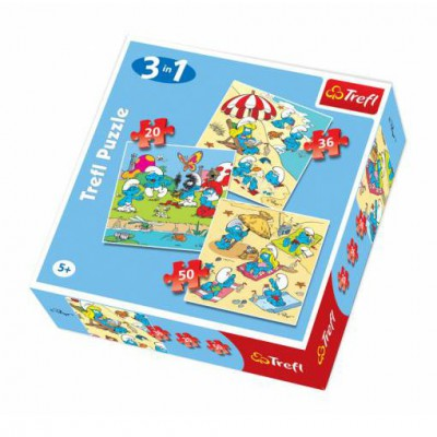 Trefl-34092 3 Puzzles Die Schlümpfe